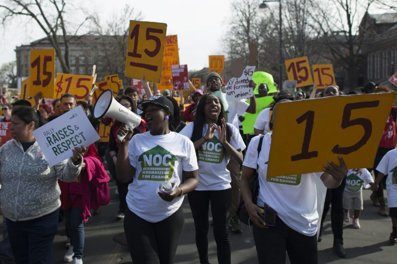 """March for a $15/hour minimum wage at the University of Minnesota"" by Fibonacci Blue is licensed under CC BY 2.0"